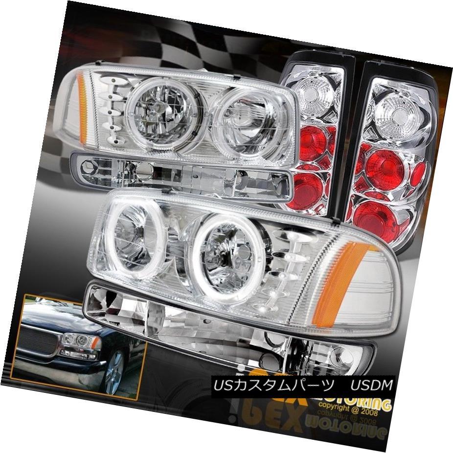 テールライト 2004 2005 2006 GMC Sierra Halo LED Chrome Headlights W/ Signal Lamp & Tail Light 2004 2005 2006 GMC Sierra Halo LEDクロームヘッドライトW /シグナルランプ& テールライト