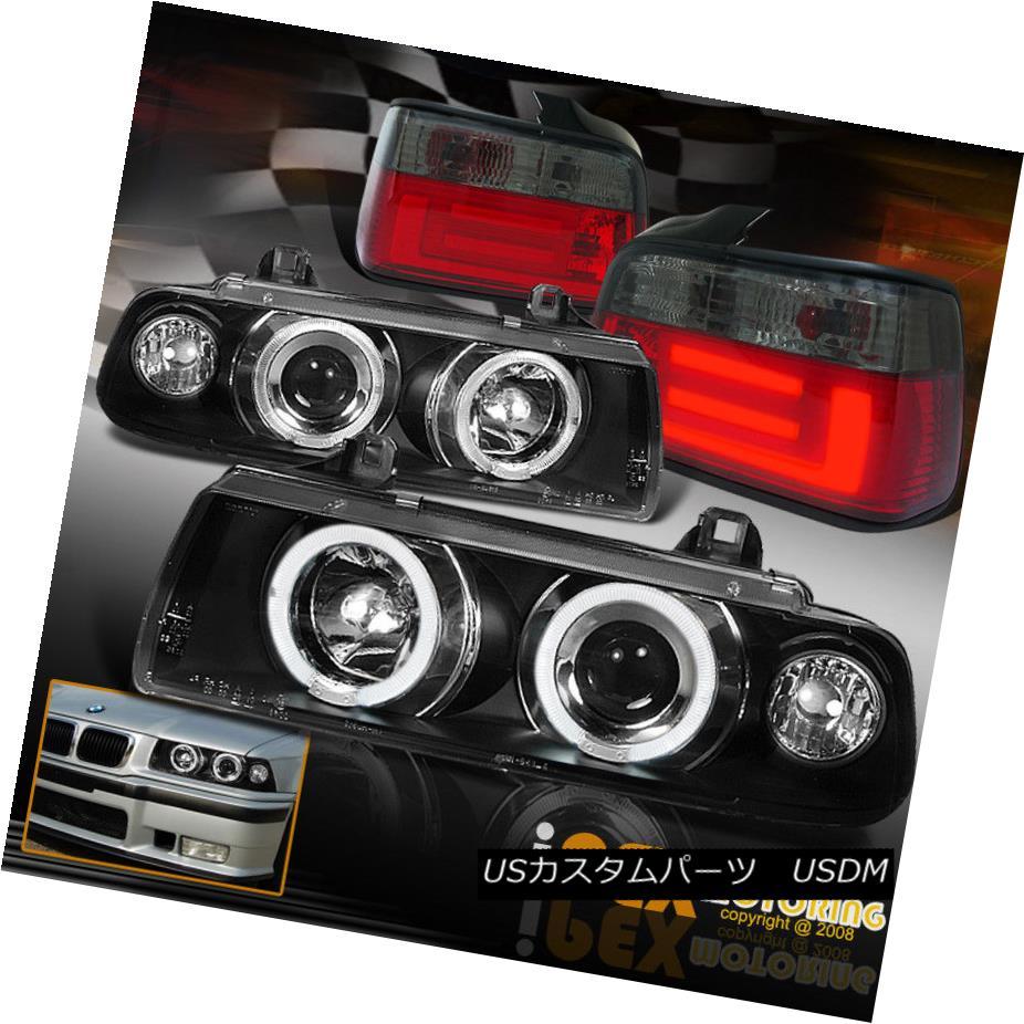 テールライト 1992-1998 BMW E36 Sean Black Halo Projector Headlights W/ Smoke LED Tail Light 1992-1998 BMW E36ショーンブラックハロープロジェクターヘッドライトW /スモークLEDテールライト