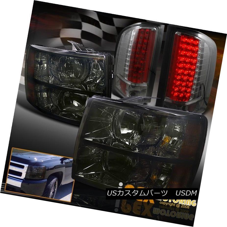 テールライト For CHEVY Silverado 1500/2500HD/3500HD BlackOut Smoke Headlight W/LED Tail Light CHEVY Silverado 1500 / 2500HD / 35 00HD BlackOutスモークヘッドライトW / LEDテールライト
