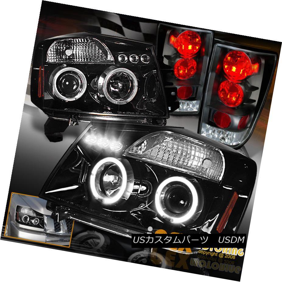 テールライト For 04-14 Nissan Titan Halo Projector Black Smoked Headlights + LED Tail Light 04-14日産タイタンヘイロープロジェクター用ブラックスモークヘッドライト+ LEDテールライト