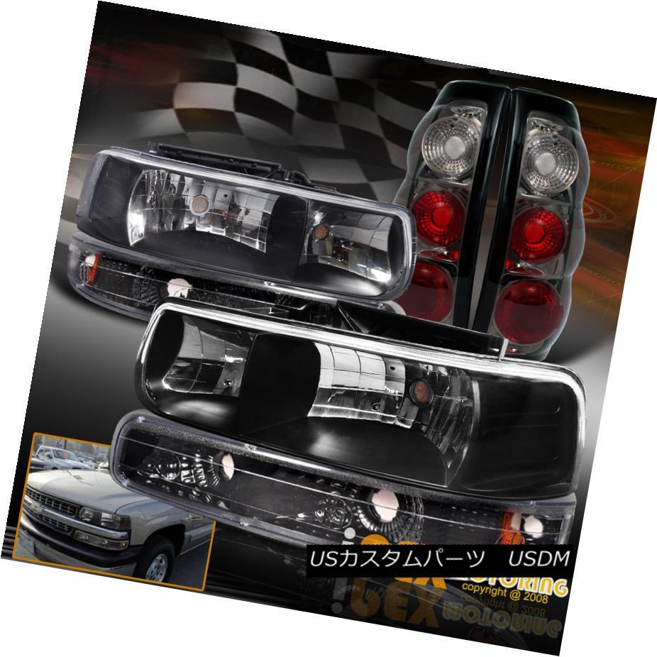 テールライト 1999 2000 2001 2002 Chevy Silverado Black Head Light + Bumper Lamp + Smoke Tail 1999 2000 2001 2002 Chevy Silveradoブラックヘッドライト+バンパーランプ+スモークテール
