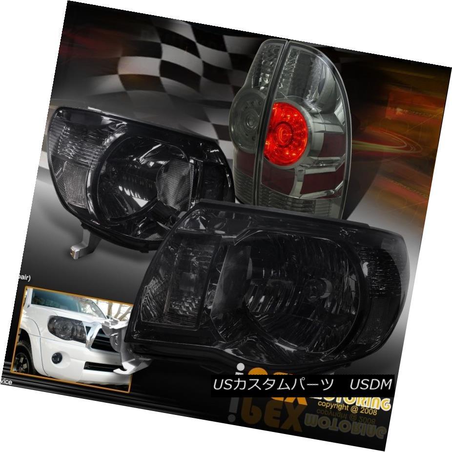 テールライト 2005-2011 Toyota Tacoma Pre-Runner Smoke Headlights + Smoke LED Tail Light Combo 2005年?2011年トヨタタコマプレランナー煙ヘッドライト+スモークLEDテールライトコンボ