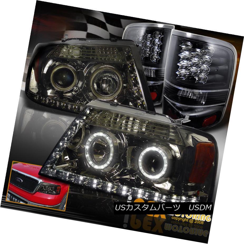 テールライト 04-08 Ford F150 Halo Projector Smoke Headlights + Brightest LED Tail Light Black 04-08 Ford F150 Haloプロジェクタースモークヘッドライト+最も明るいLEDテールライトブラック