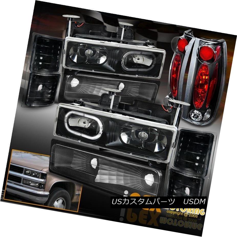 テールライト 94-98 Chevy Suburban Silverado Tahoe [Black 10Piece] Halo Headlight + Tail Light 94-98シボレー郊外シルバラードタホ[ブラック10ピース]ヘイローヘッドライト+テールライト