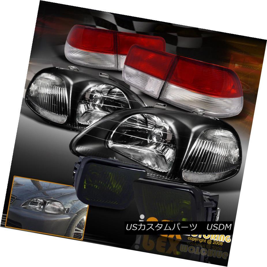 テールライト 1996-1998 Honda Civic 2Dr EK JDM Style Black Headlights+Red Tail Light+Smoke Fog 1996-1998 Honda Civic 2Dr EK JDMスタイルブラックヘッドライト+レッドテールライト+スモークフォグ