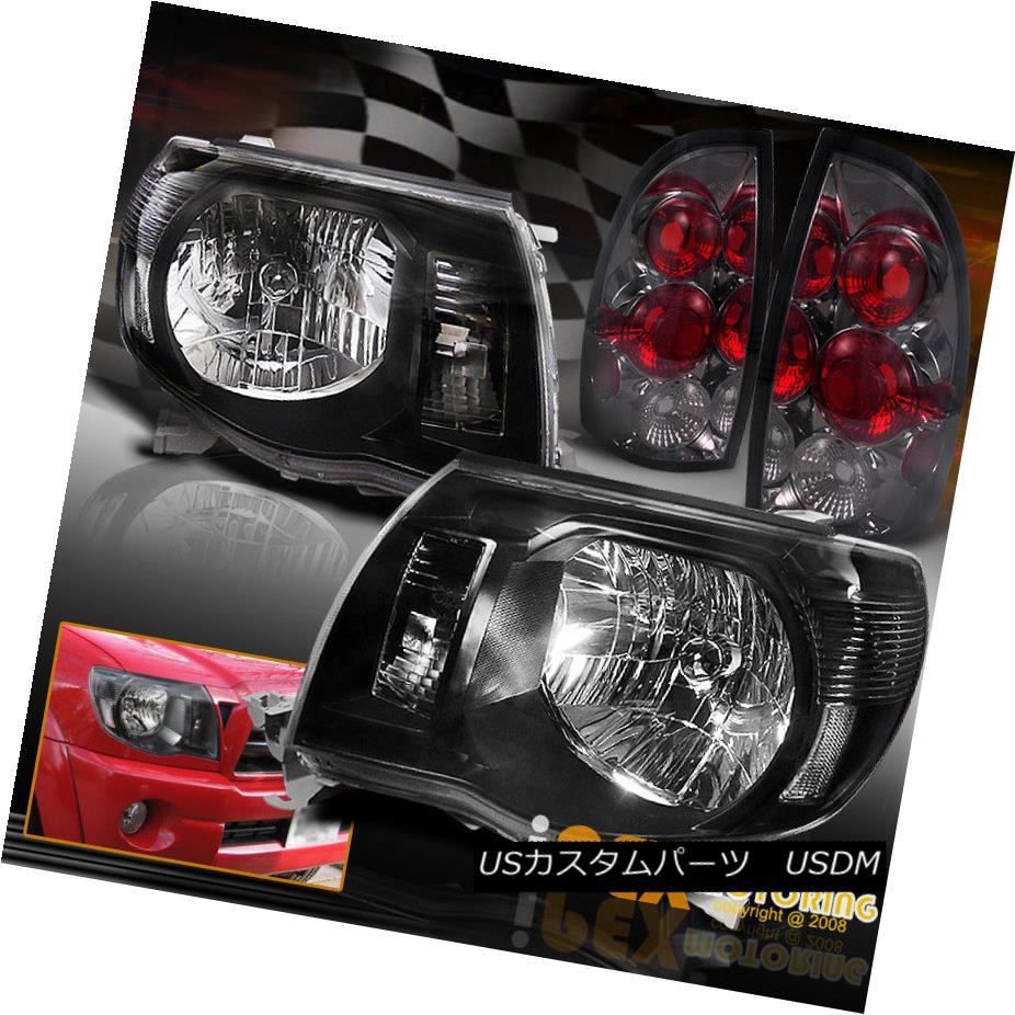 テールライト 2005 2006 2007 2008 Toyota Tacoma Black Headlights + Smoke Tail Lights Combo 2005 2006 2007 2008トヨタタコマブラックヘッドライト+スモークテールライトコンボ