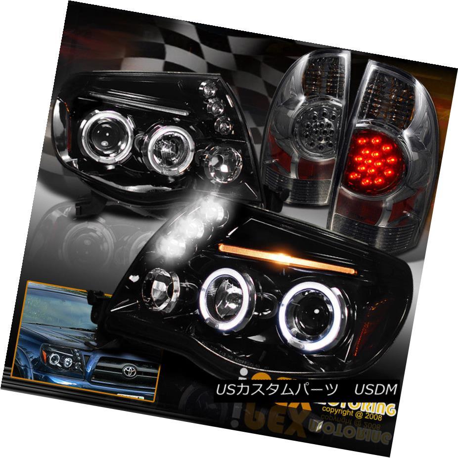 テールライト 05-08 Tacoma Halo Projector SHINY PIANO BLACK Headlights + LED Smoke Tail Light 05-08タコマハロープロジェクターSHINY PIANO BLACKヘッドライト+ LEDスモークテールライト