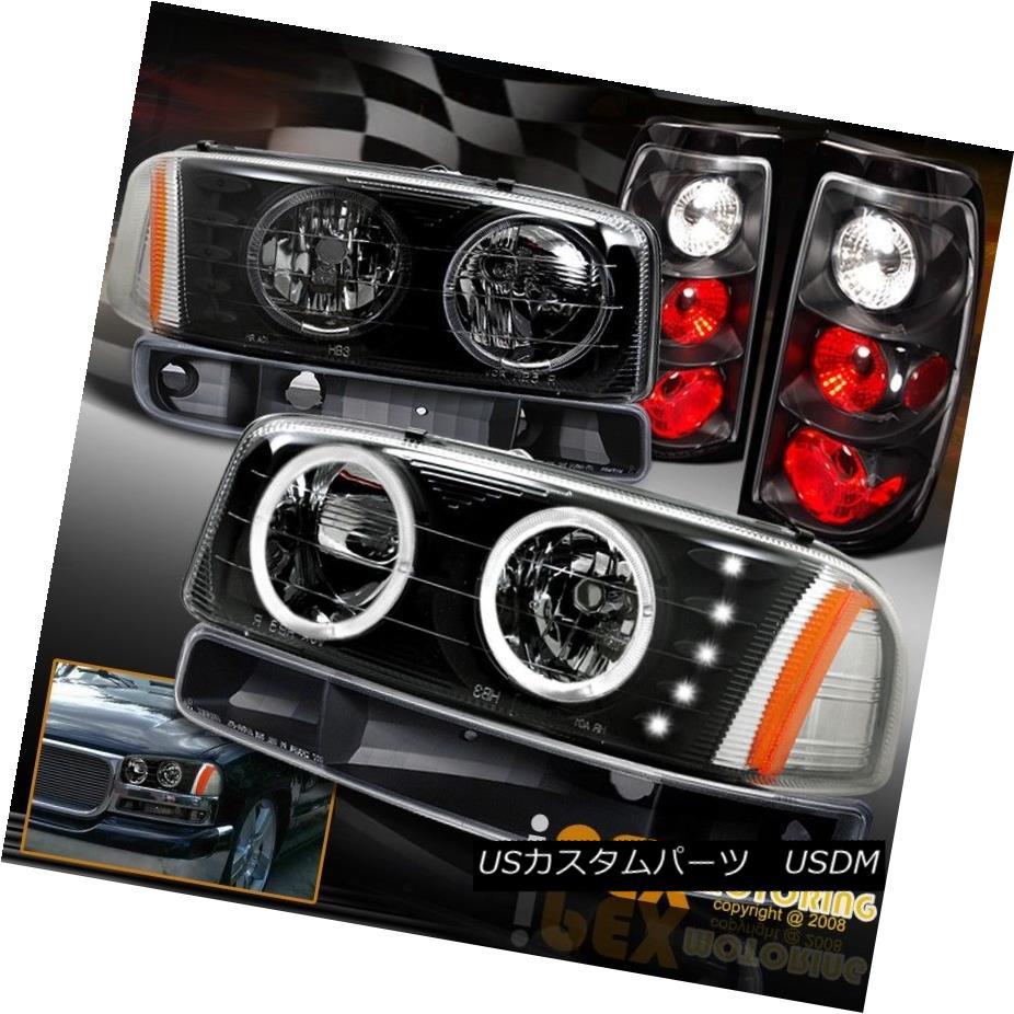 テールライト 2004 2005 2006 GMC Sierra Halo LED Headlights + Signal Light + Tail Light Black 2004年2005年2006 GMC Sierra Halo LEDヘッドライト+シグナルライト+テールライトブラック
