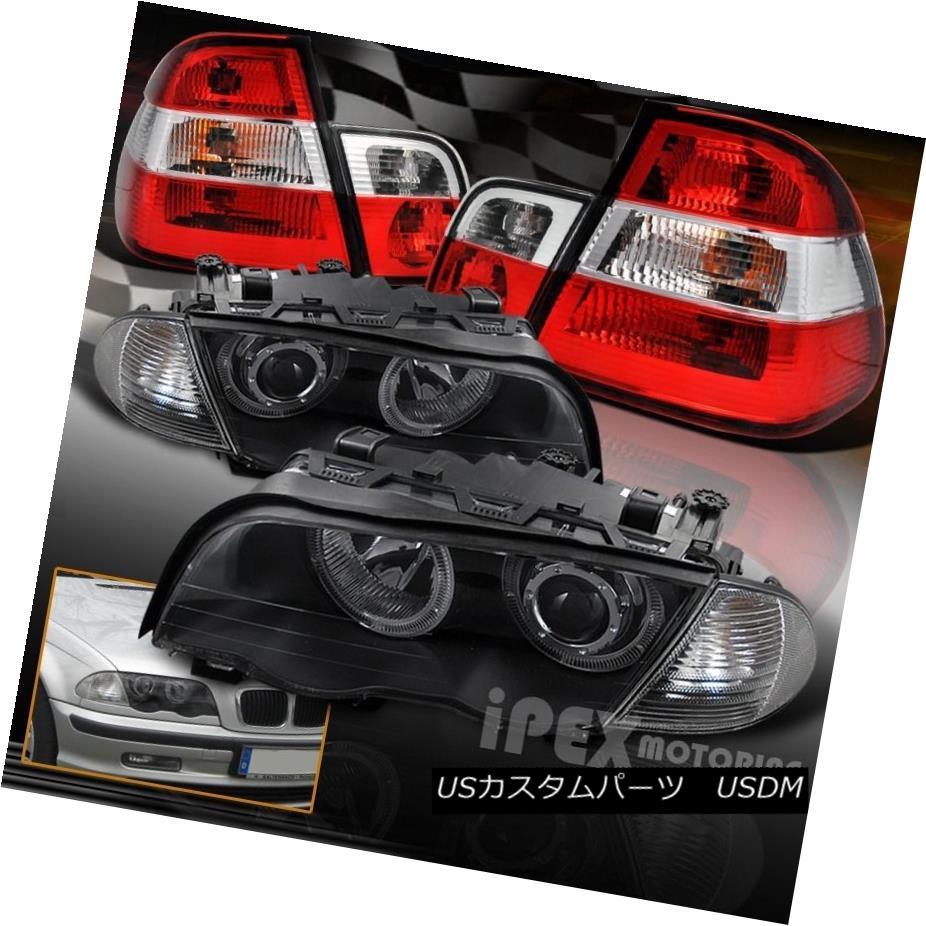 テールライト 1999-2001 BMW E46 3-Series 4DR Halo Projector Black Headlights+Corner+Tail Light 1999-2001 BMW E46 3シリーズ4DRハロープロジェクターブラックヘッドライト+ Cor ner +テールライト