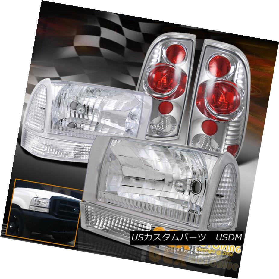 テールライト 1999-2004 Ford F250/F350 SUPER-DUTY Chrome Headlights + Tail Light+ Signal Lamps 1999-2004 Ford F250 / F350 SUPER-DUTYクロームヘッドライト+テールライト+シグナルランプ