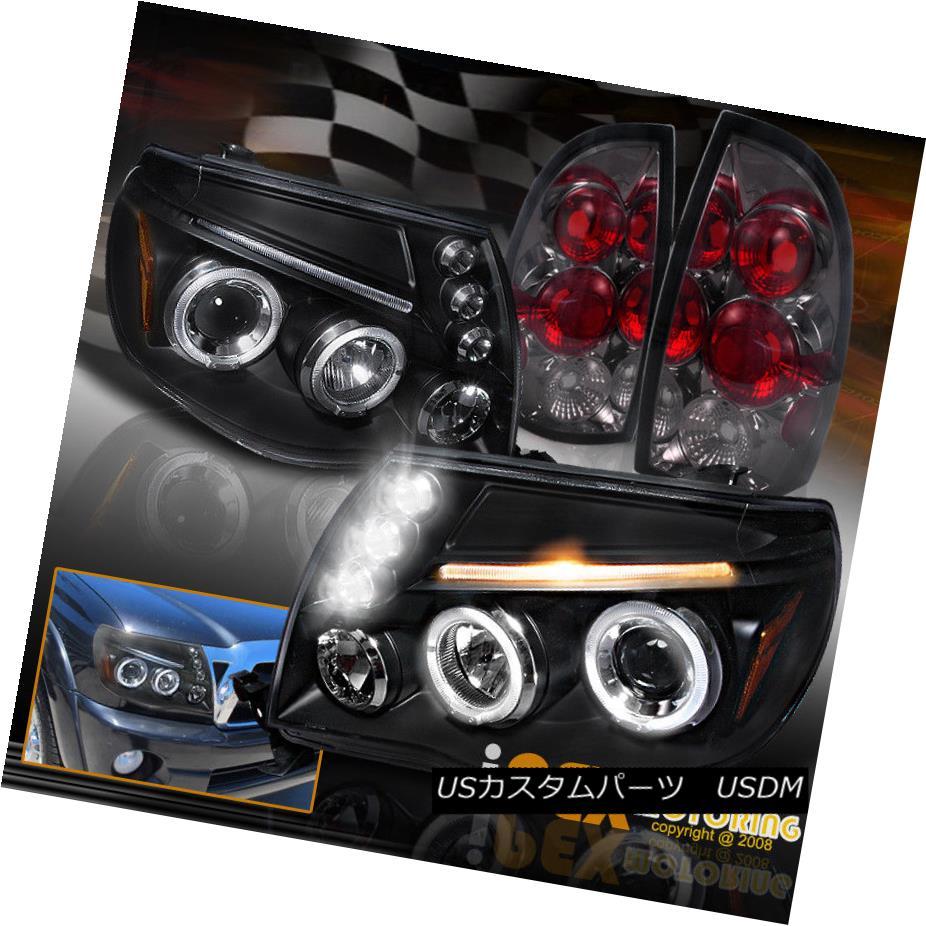 テールライト 2005-2008 Toyota Tacoma Halo Projector LED Black Headlights + Smoke Tail Lights 2005-2008トヨタタコマヘイロープロジェクターLEDブラックヘッドライト+煙テールライト