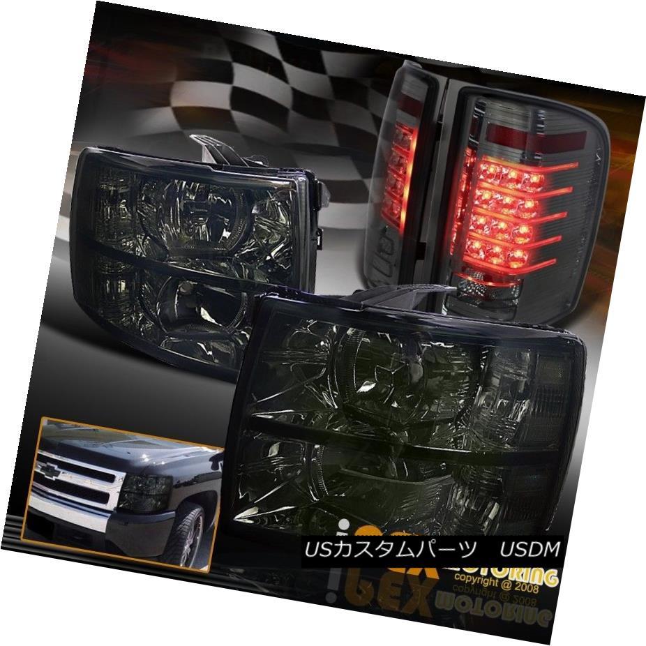 テールライト [BlackOut] 2007-2014 Chevy Silverado Smoke Headlight + Glow Strip LED Tail Light [BlackOut] 2007-2014シボレーシルバラード煙ヘッドライト+グローストリップLEDテールライト