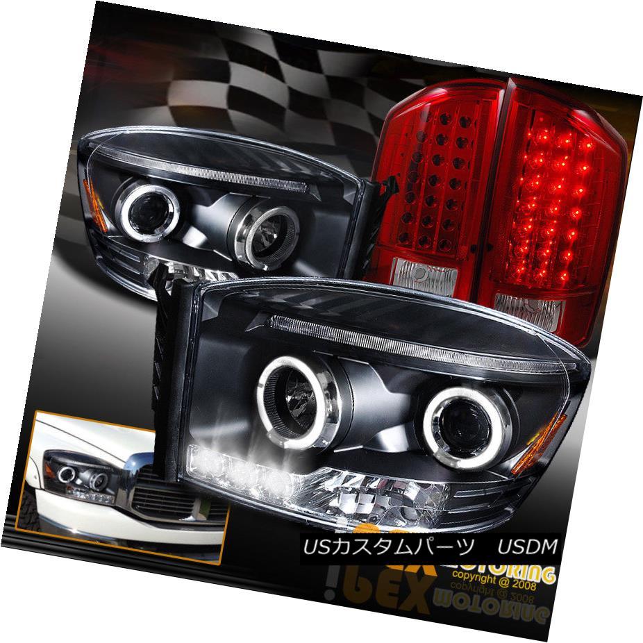テールライト 2007-2008 Dodge RAM 1500 2500 3500 Halo Projector Black Headlight+LED Tail Light 2007-2008 Dodge RAM 1500 2500 3500 Haloプロジェクターブラックヘッドライト+ LEDテールライト