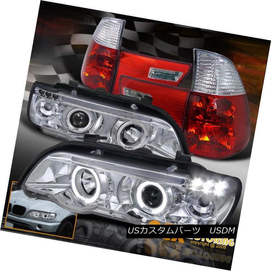 テールライト For 2000-2003 BMW X5 E53 Halo Projector LED Headlights + Euro Tail Lights X-5 BMW X5 E53 HaloプロジェクターLEDヘッドライト+ユーロテールライトX-5