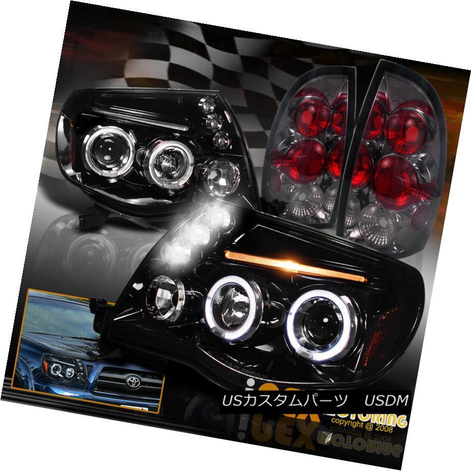 テールライト 2005-2008 Toyota Tacoma Halo Projector Black-Smoked Headlight + Smoke Tail Light 2005-2008トヨタタコマヘイロープロジェクターブラックスモークヘッドライト+スモークテールライト