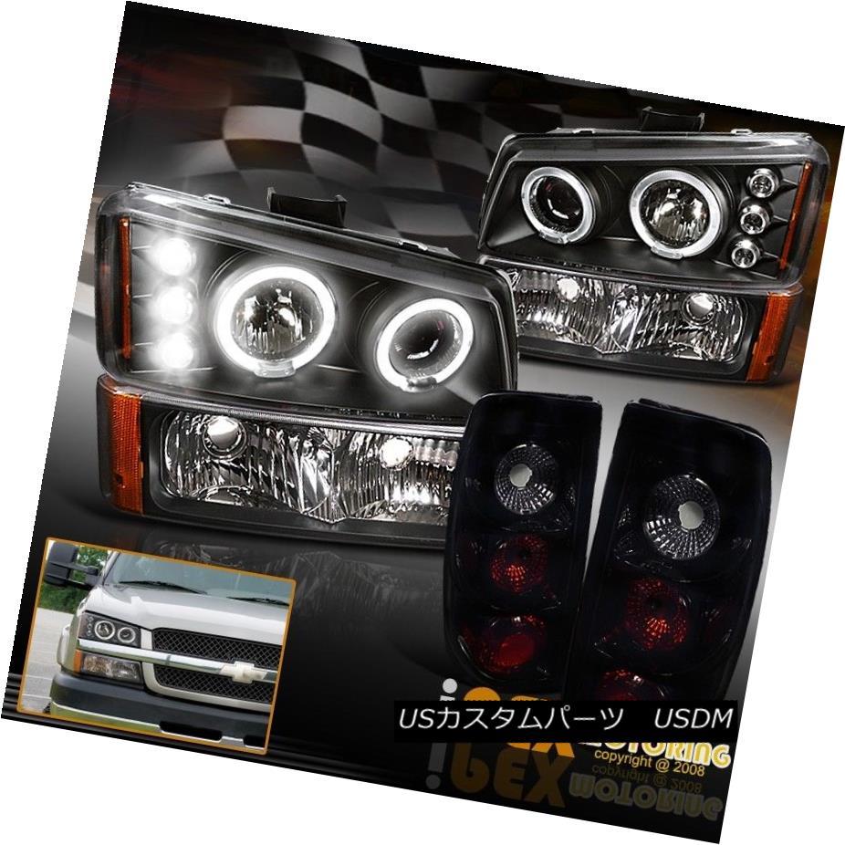 テールライト 2003-2006 Silverado Halo Projector LED Headlights+Signals+Jet Black Tail Light 2003年?2006年シルエラード・ハロー・プロジェクターLEDヘッドライト+ Sig nals +ジェット・ブラック・テール・ライト