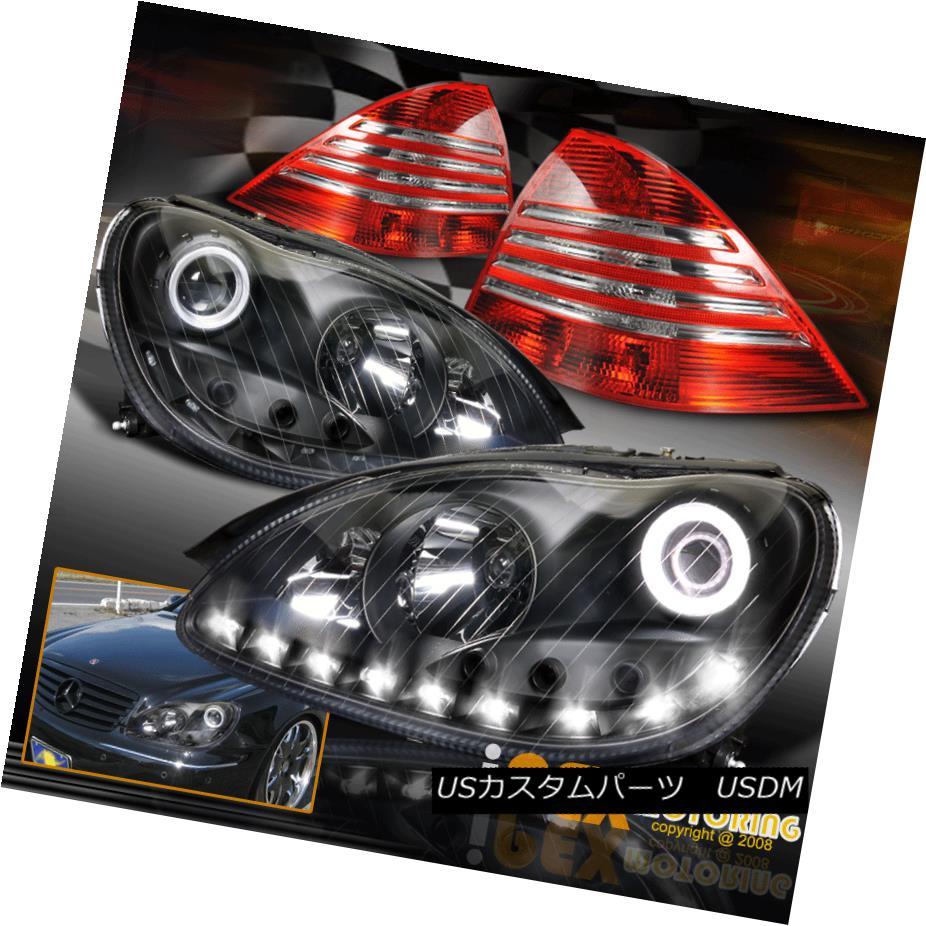 テールライト (S-Class) 2000-2005 Mercedes Benz W220 Projector Black Headlights + Tail Light (Sクラス)2000-2005メルセデスベンツW220プロジェクターブラックヘッドライト+テールライト