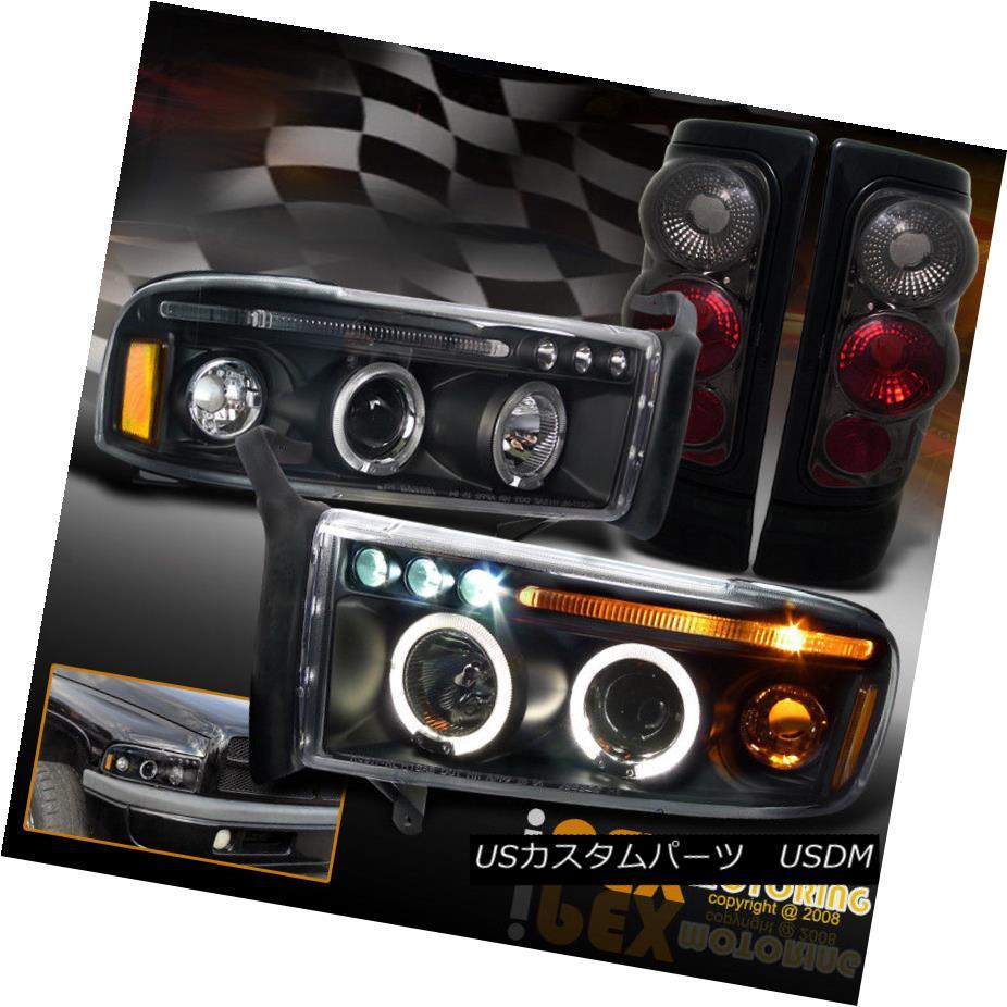 テールライト 94-01 Dodge Ram 1500 2500 Black Projector Halo LED Headlights + Smoke Tail Light 94-01 Dodge Ram 1500 2500ブラックプロジェクターHalo LEDヘッドライト+スモークテールライト