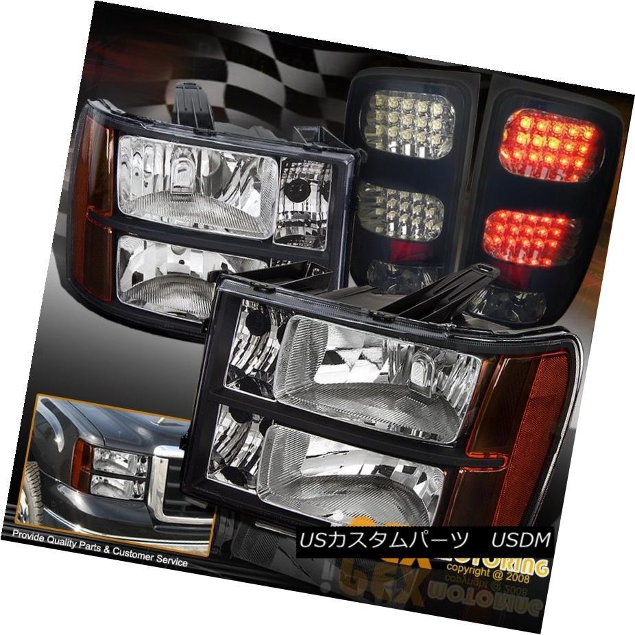 テールライト 2007-2013 GMC Sierra 1500 2500HD Black Headlights + Dark Smoke LED Tail Lights 2007-2013 GMC Sierra 1500 2500HDブラックヘッドライト+ダークスモークLEDテールライト