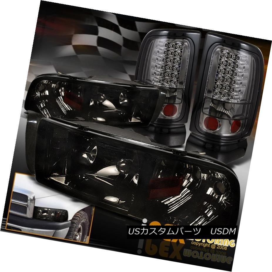 テールライト Dodge 94-01 Ram 1500/2500/3500 Black-Smoked Headlights + LED Smoke Tail Lights Dodge 94-01 Ram 1500/2500/3500ブラックスモークヘッドライト+ LEDスモークテールライト