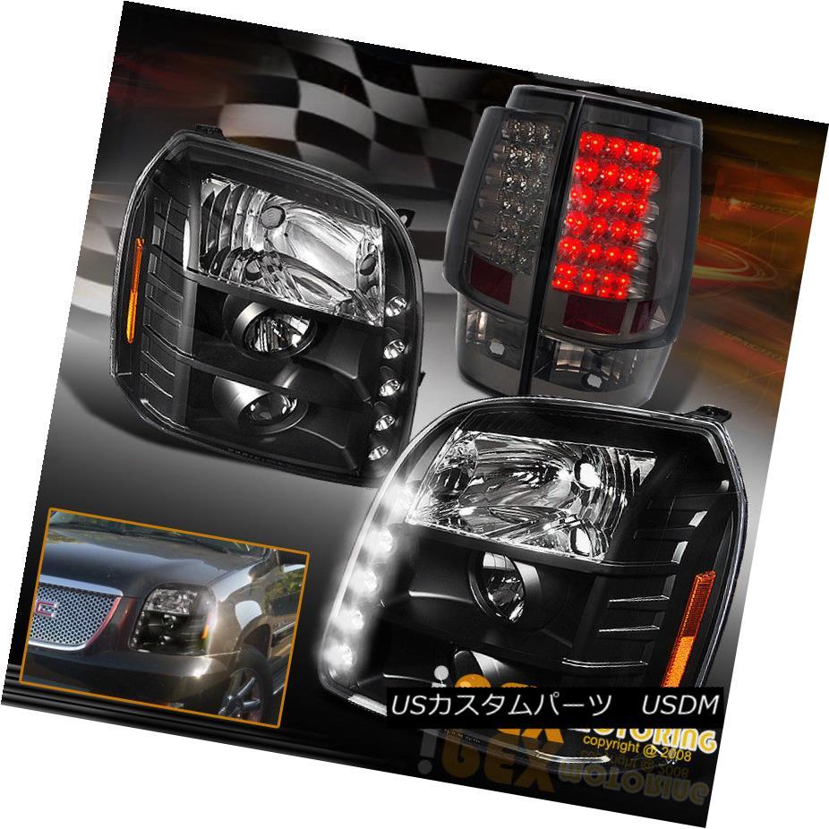 テールライト 07-14 GMC Yukon LED DRL Bar Projector Black Headlights W/ LED Smoke Tail Lights 07-14 GMC Yukon LED DRLバープロジェクターブラックヘッドライトLEDスモークテールライト
