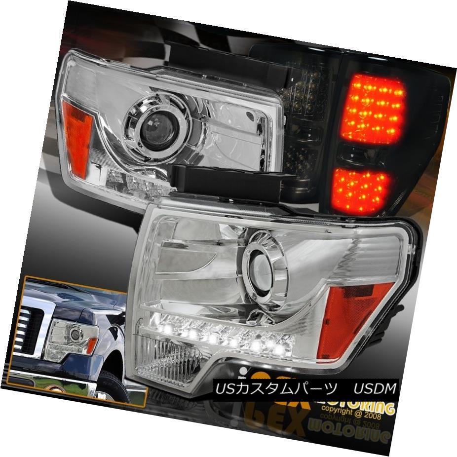 テールライト Front & Rear Bright LED For 09-14 Ford F150 Projector Head Lights W/ Tail Lamps フロント& 09-14 Ford F150プロジェクターヘッドライトW /テールランプのリアブライトLED
