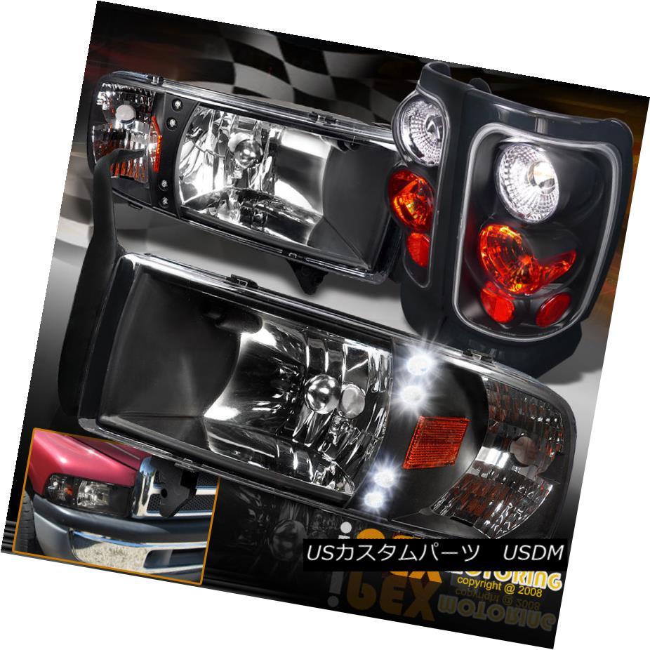 テールライト 94-01 Dodge Ram 1500 2500 3500 LED Black Headlights W/Corner Signal + Tail Light 94-01 Dodge Ram 1500 2500 3500 LEDブラックヘッドライトW /コーナー信号+テールライト