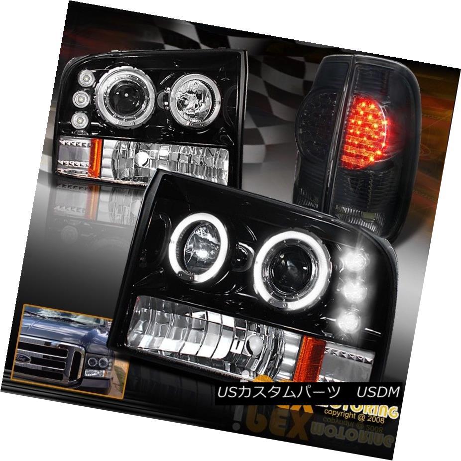 テールライト 99-04 Ford F250 Super-Duty Projector Shiny Black Headlight +Smoke LED Tail Light 99-04 Ford F250スーパーデューティプロジェクターシャイニーブラックヘッドライト+スモークLEDテールライト