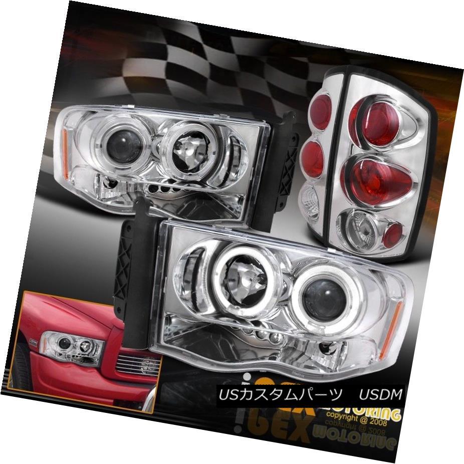 テールライト 2002-2005 Dodge Ram 1500 2500 Halo Projector LED Headlights + Tail Lights Chrome 2002-2005 Dodge Ram 1500 2500 HaloプロジェクターLEDヘッドライト+テールライトクローム