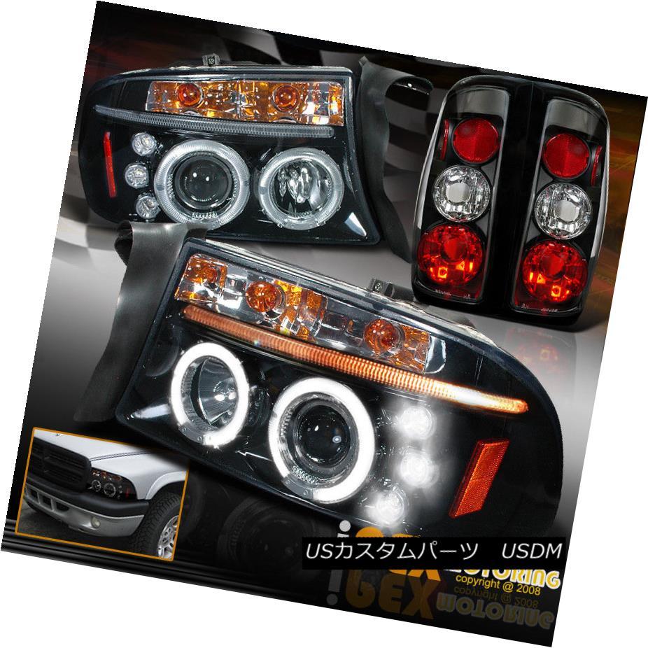 テールライト 1997-2004 Dakota Projector LED Shiny Black Headlights + Euro Black Tail Lights 1997 - 2004年ダコタプロジェクターLEDシャイニーブラックヘッドライト+ユーロブラックテールライト