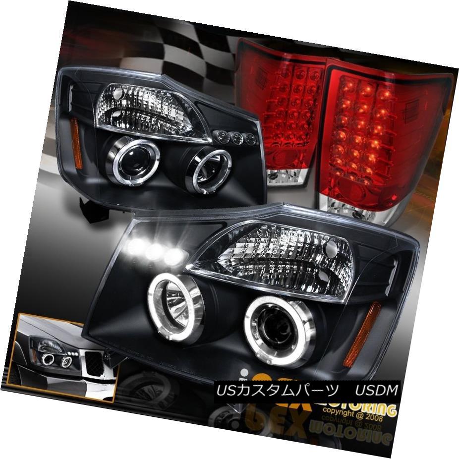テールライト For 2004-2014 Nissan Titan Halo Projector Black Headlights + LED Tail Light Red 2004年?2014年Nissan Titan Haloプロジェクターブラックヘッドライト+ LEDテールライトレッド