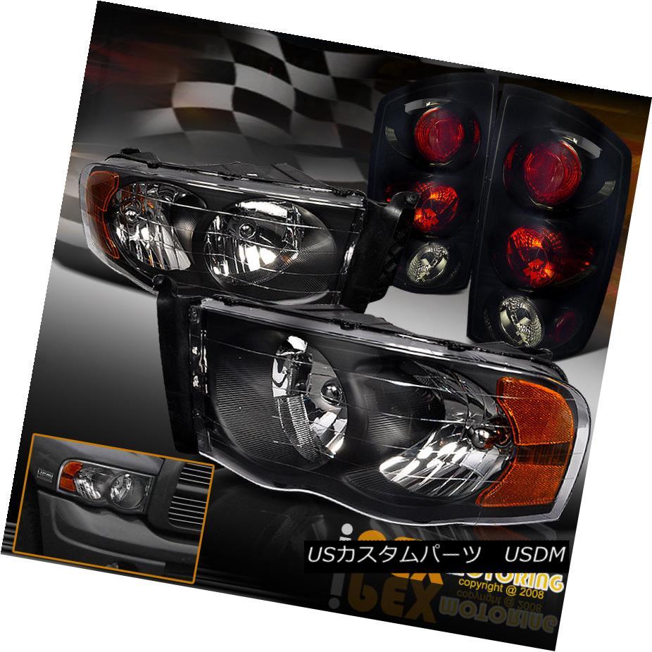 テールライト For 2002-2005 Dodge Ram 1500 2500 3500 Black Headlights + Pearl Black Tail Light 2002-2005ダッジラム1500 2500 3500ブラックヘッドライト+パールブラックテールライト