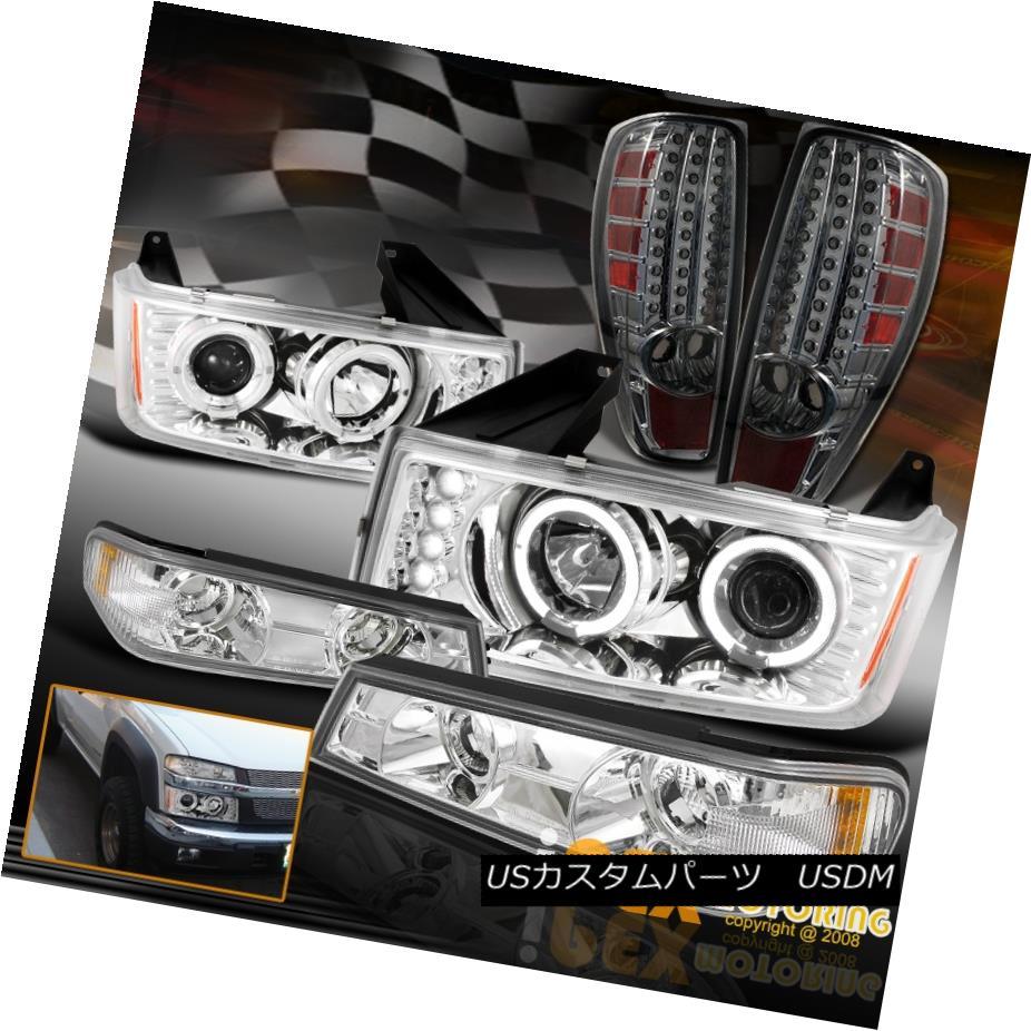 テールライト Chevy Colorado/GMC Canyon Halo Projector Chrome Headlight W/LED Tail Light Smoke シボレーコロラド/ GMCキャニオンハロープロジェクタークロームヘッドライトW / LEDテールライトスモーク