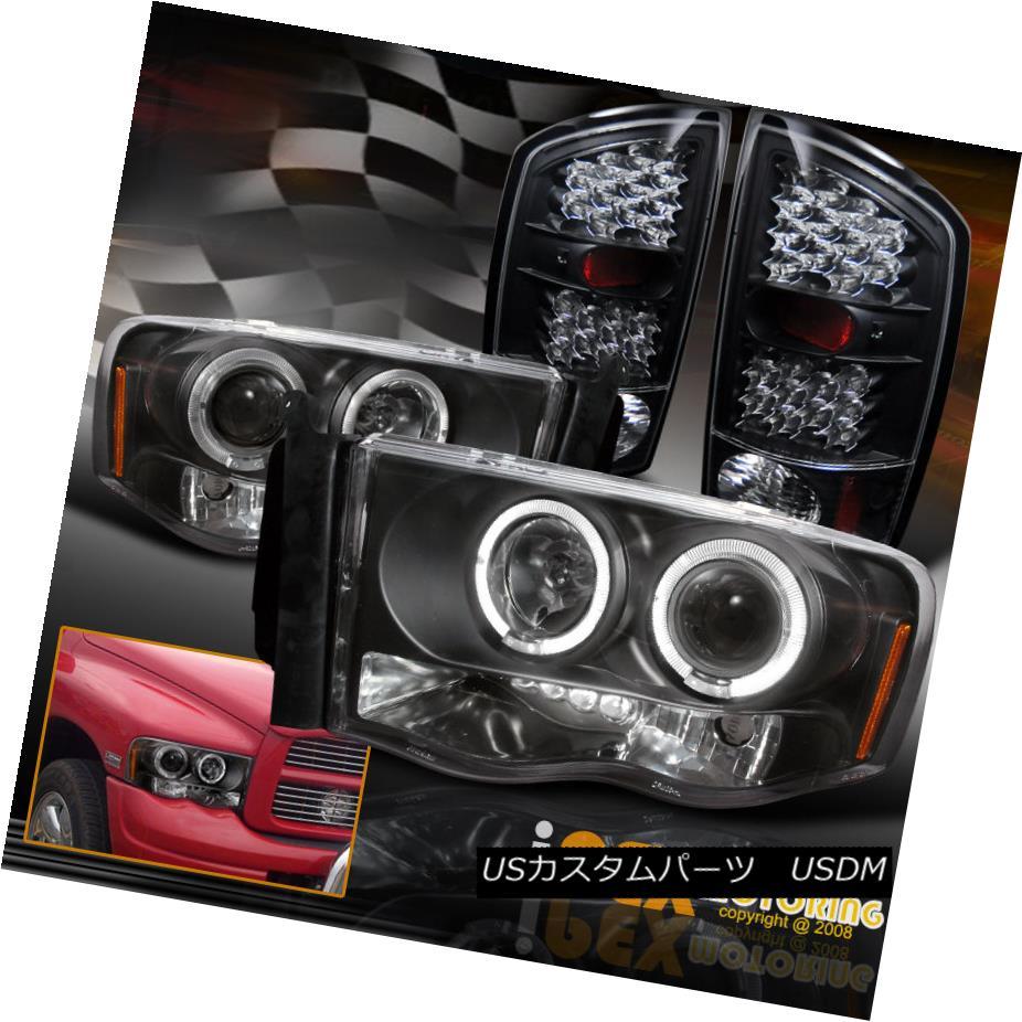 テールライト 2002-2005 Dodge Ram Dual Halo Projector Headlight + Bright LED Tail Light Black 2002-2005ダッジラムデュアルヘイロープロジェクターヘッドライト+ブライトLEDテールライトブラック
