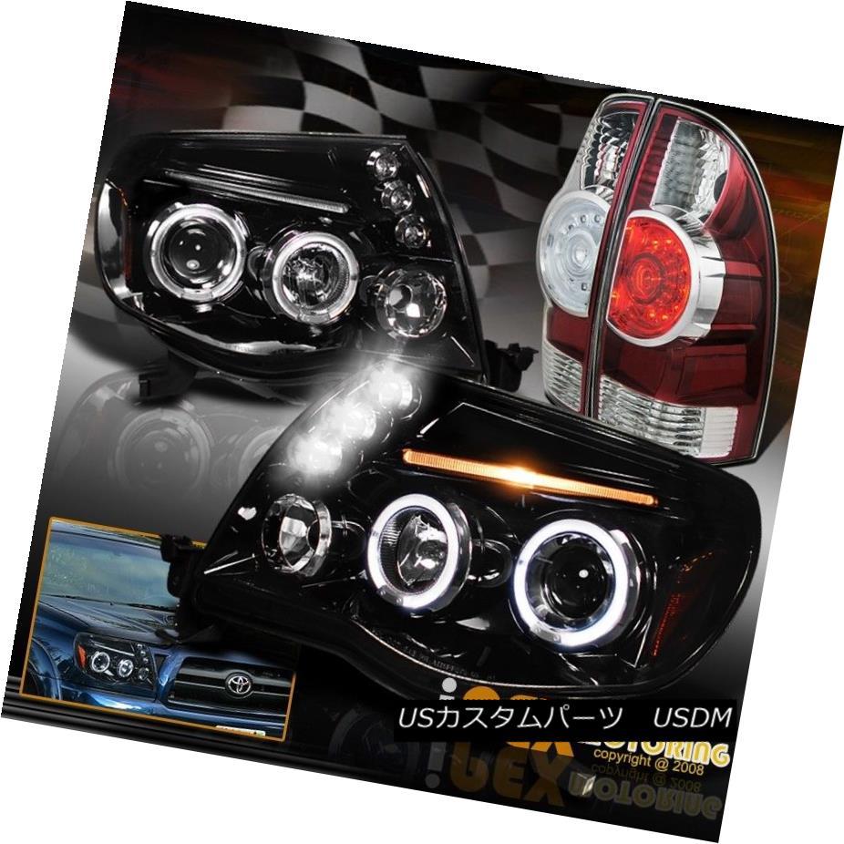 テールライト 05-11 Tacoma Dual Halo Projector Headlight + Brightest LED Glossy Red Tail Light 05-11タコマデュアルヘイロープロジェクターヘッドライト+最も明るいLED光沢のある赤テールライト