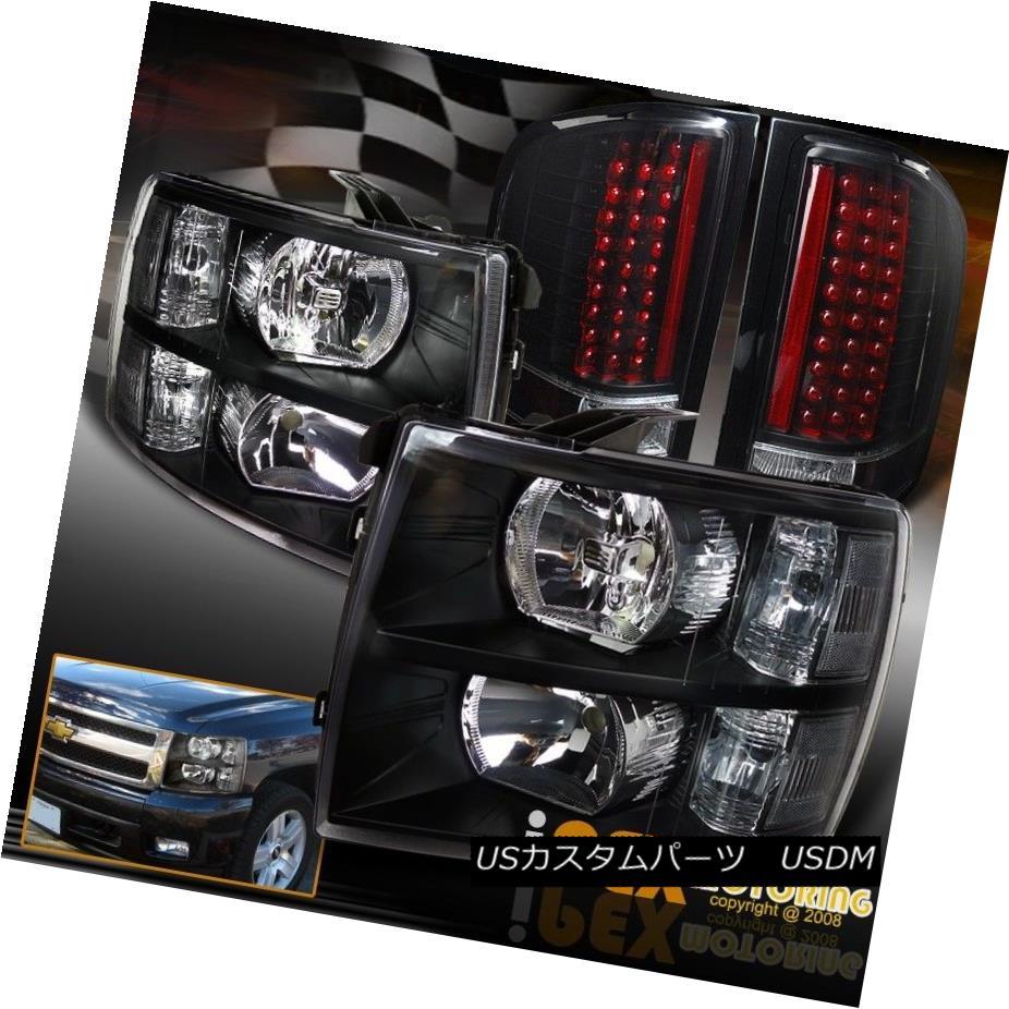 テールライト 2007-2014 Chevy Silverado 1500/2500/3500 Black Headlights + Ultra LED Tail Light 2007-2014シボレーシルバラード1500/2500/3500ブラックヘッドライト+ウルトラLEDテールライト