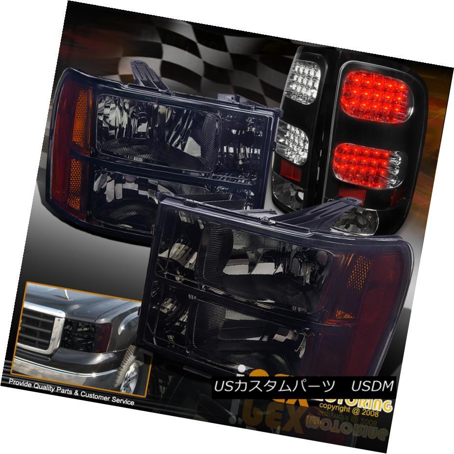 テールライト [Black-Out] 2007-2013 GMC Sierra 1500 2500HD Smoke Headlights + LED Tail Lights [ブラックアウト] 2007-2013 GMC Sierra 1500 2500HDスモークヘッドライト+ LEDテールライト