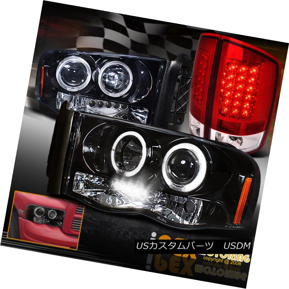 テールライト 2002-2005 Dodge RAM Dual Halo Projector Shiny Black Headlight+LED Red Tail Light 2002-2005ドッジRAMデュアルヘイロープロジェクターシャイニーブラックヘッドライト+ LEDレッドテールライト