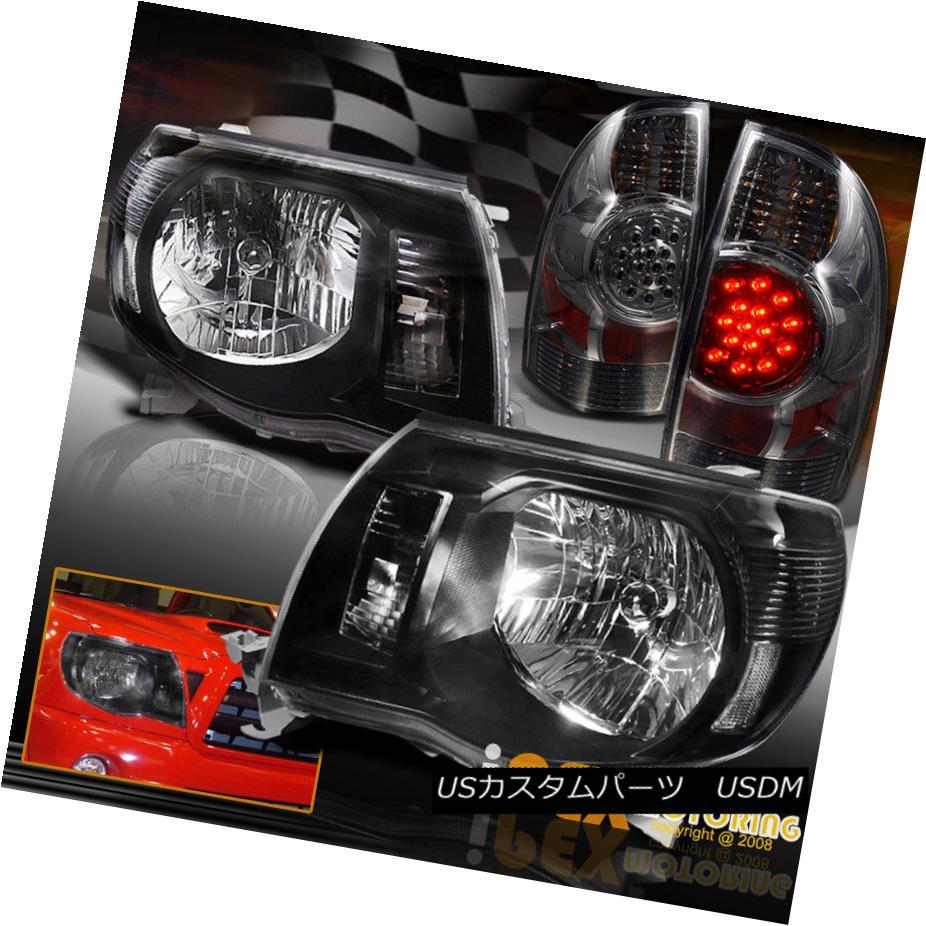 テールライト 05-08 Toyota Tacoma Pre-Runner X-Runner Black Headlights + LED Smoke Tail Light 05-08トヨタタコマプレランナーXランナーブラックヘッドライト+ LEDスモークテールライト