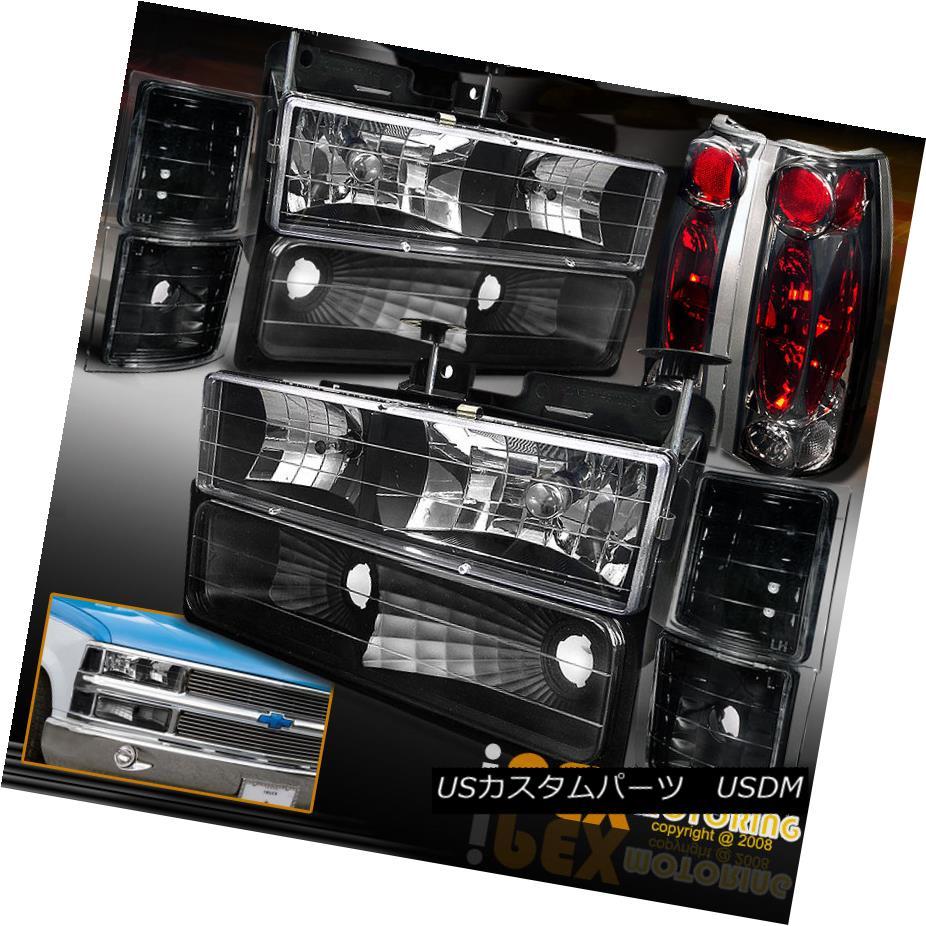 テールライト 94-98 Chevy CK 1500/2500/3500 Silverado [10PC] Black Headlights+Smoke Tail Light 94-98 Chevy CK 1500/2500/3500 Silverado [10PC]ブラックヘッドライト+スモーキー keテールライト