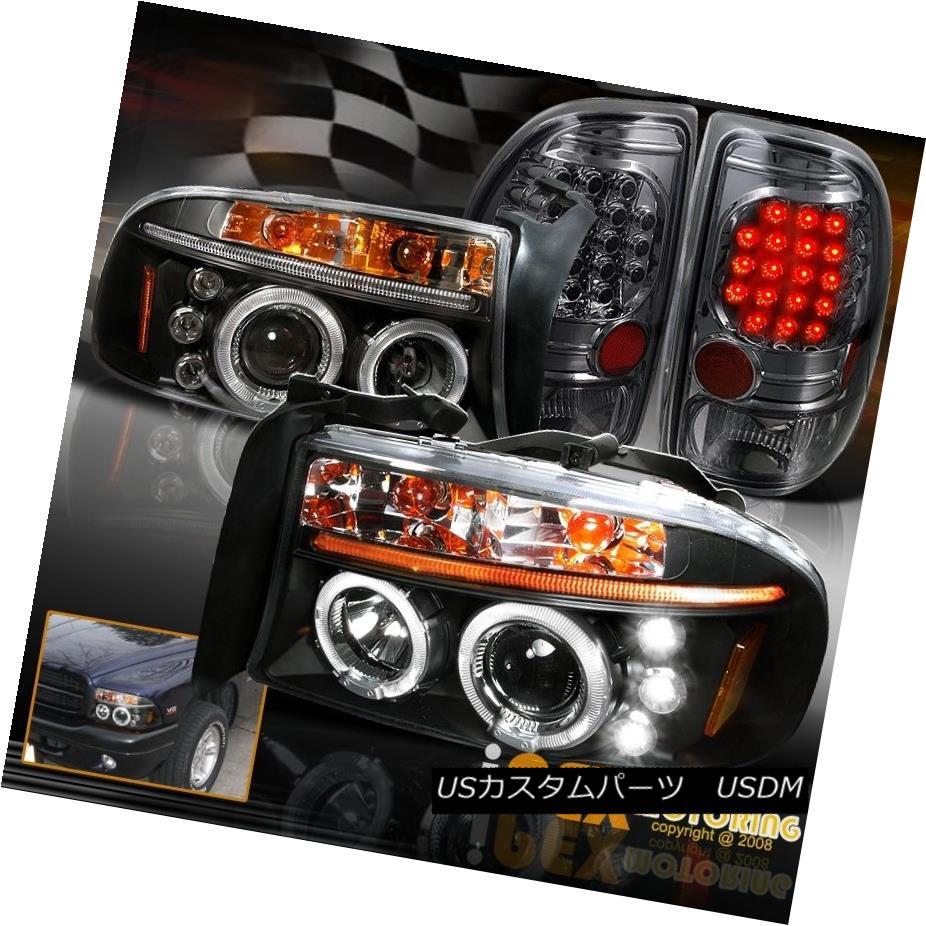 テールライト 1997-2004 Dodge Dakota Halo Projector Black Headlights + Smoke LED Tail Lights 1997 - 2004年ダッジダコタハロープロジェクターブラックヘッドライト+スモークLEDテールライト
