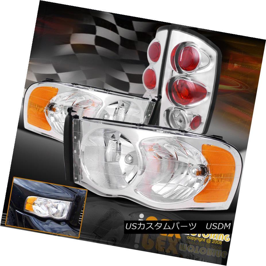 テールライト NEW Chrome Combo For 2002-2005 Dodge Ram 1500 2500 3500 Headlights + Tail Lights NEW Chromeコンボ2002-2005ドッジラム1500 2500 3500ヘッドライト+テールライト