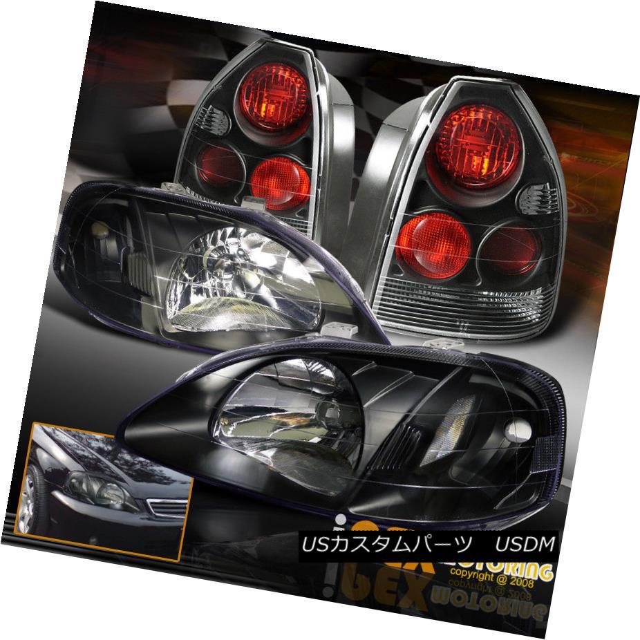 テールライト 1999-2000 Honda Civic 3Dr HATCHBACK HB JDM Black Headlights + Black Tail Lights 1999-2000ホンダシビック3DrハッチバックHB JDMブラックヘッドライト+ブラックテールライト