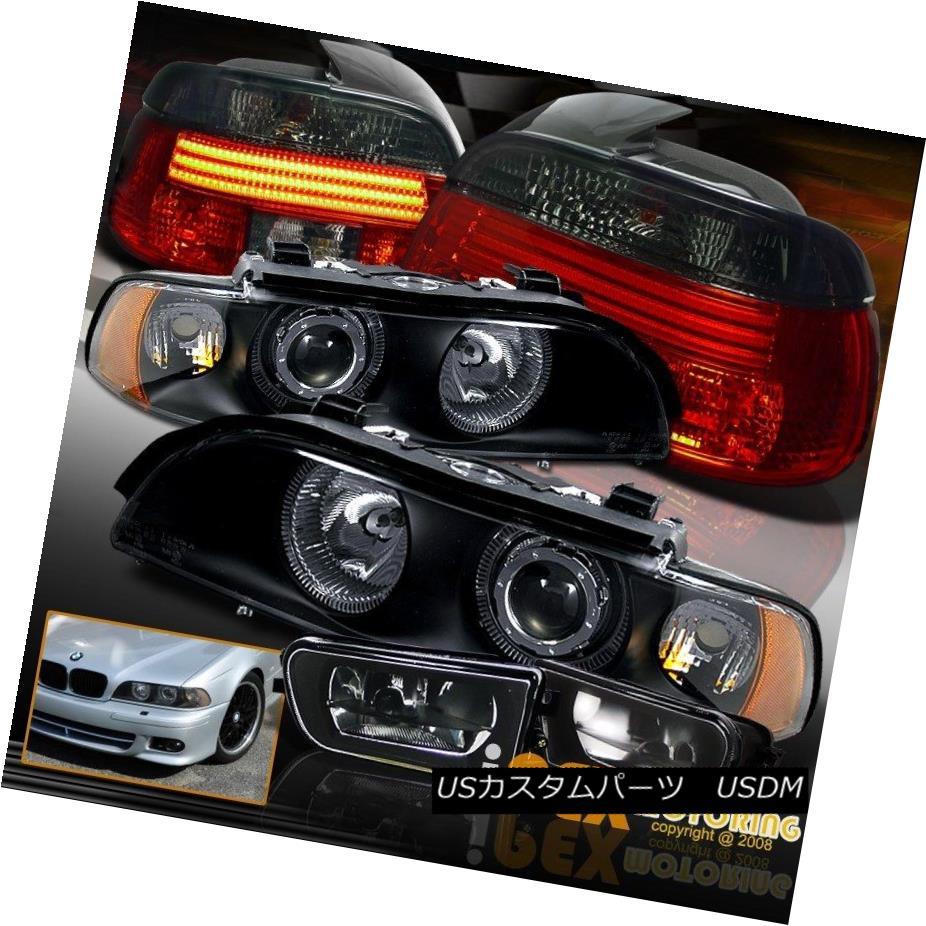 テールライト BMW 97-00 E39 Halo Projector Black Headlight + LED Smoke Tail Light + Fog Light BMW 97-00 E39ハロープロジェクターブラックヘッドライト+ LEDスモークテールライト+フォグライト