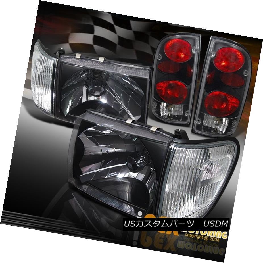 テールライト NEW 98-00 Toyota Tacoma 4x4 4WD Black Headlight +Clear Corner+ Black Tail Light NEW 98-00トヨタタコマ4x4 4WDブラックヘッドライト+クリアコーナーブラックテールライト
