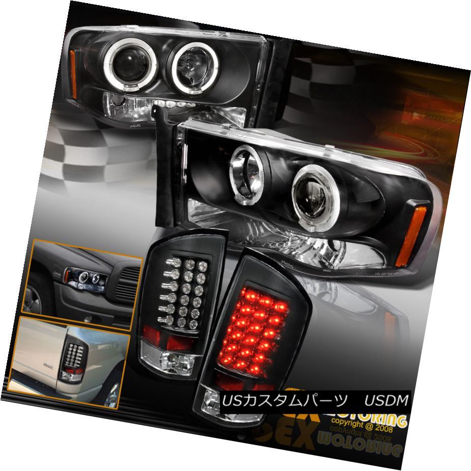 テールライト 2002-2005 Dodge Ram 1500 2500 Halo Projector Headlights + Black LED Tail Lights 2002-2005 Dodge Ram 1500 2500ハロープロジェクターヘッドライト+ブラックLEDテールライト