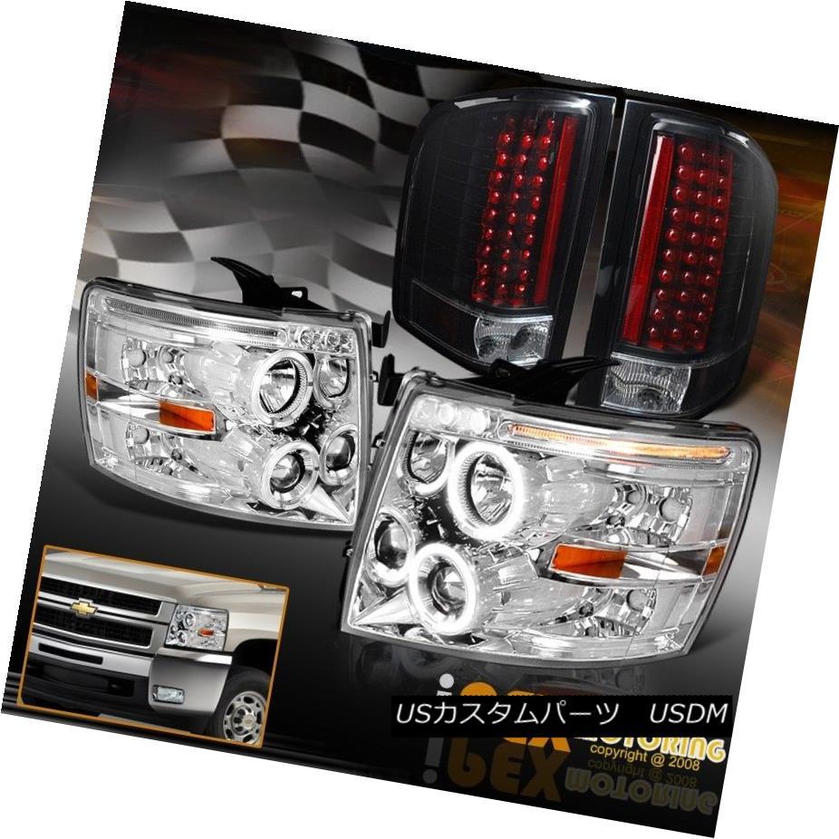 テールライト 07-14 Chevy Silverado Chrome Halo LED Projector Head Light + Black LED Tail Lamp 07-14 Chevy Silverado Chrome Halo LEDプロジェクターヘッドライト+ブラックLEDテールランプ