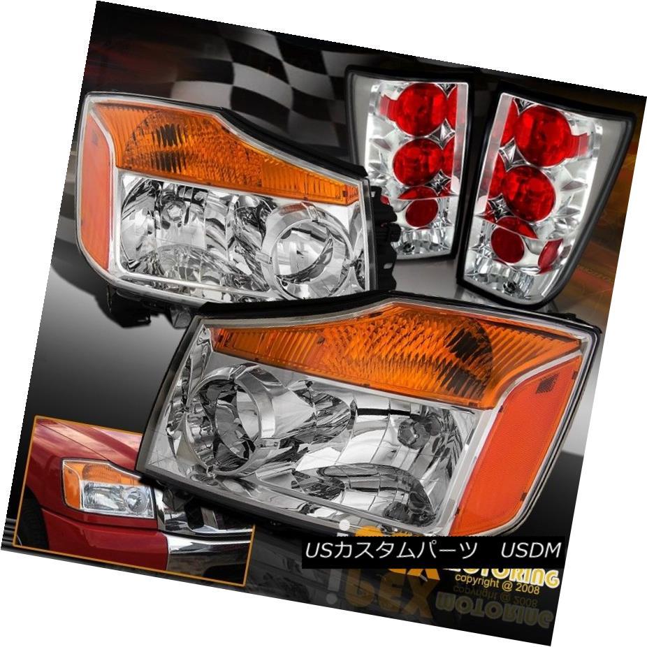 テールライト For All 2004-2014 Nissan Titan Chrome Headlights W/ Nice Looking Tail Lights すべての2004?2014日産のタイタンクロームヘッドライトW /ニース見てテールライト