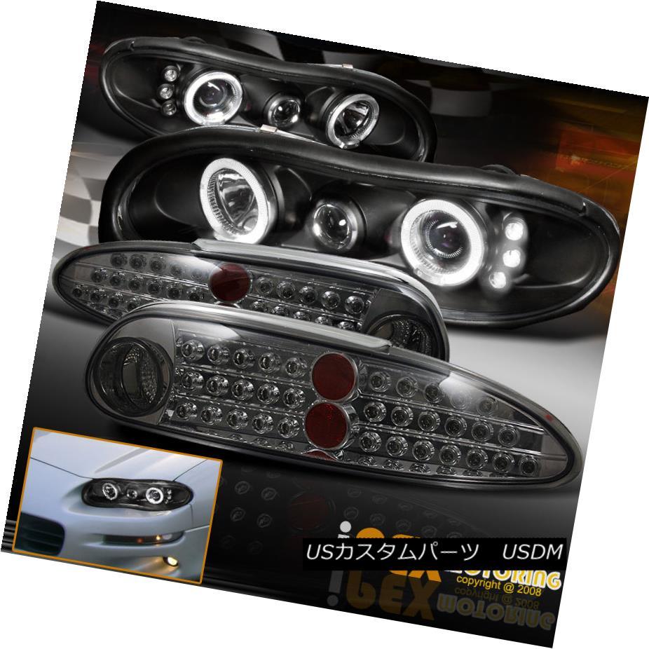 テールライト 1998-2002 Camaro Z28 Halo Projector Black Headlight +Bright LED Smoke Tail Light 1998-2002カマロZ28ハロープロジェクターブラックヘッドライト+ブライトLEDスモークテールライト