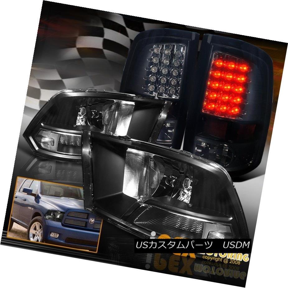 テールライト 09-16 Dodge Ram 1500 2500 3500 Black Headlights W/ Dark Smoke LED Tail Lights 09-16 Dodge Ram 1500 2500 3500ブラックヘッドライトW /ダークスモークLEDテールライト